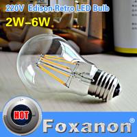 Foxanon Brand E27 LED Filament Light Glass Housing Blub Lamps 220V 2W 4W 6W Warm White High Brightness 360 Degree Retro Lighting