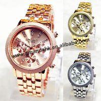 50pcs/lot Geneva Casual Rhinestone Round Dial Quartz Watch Women Dress Quartz Wristwatch Luxury Metal Men Male Military Watches