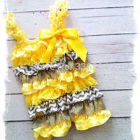 Yellow and Gray Chevron Print Petti Satin Lace Romper Cake Smash-1st Birthday PETTI ROMPER