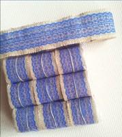 Natural Jute Burlap Hessian Ribbon Lace Trim Tape Rustic Wedding craft / party decoration ribbon blue  60MM width