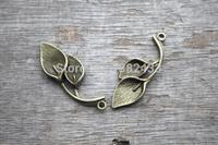 24pcs--Leaf charms, Antique bronze Vintage 3D Lotus Mist Lily Calla Charm Pendant 38x14mm