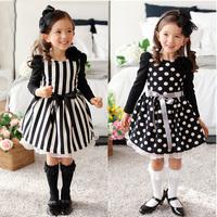 Design Polka dot&stripe two style Children's clothing brand Party Costume Autumn Girl Dress Princess Dresses Kids clothes HA096