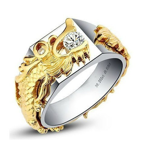 Solid Gold Dragon Generous China Long Jewelry Moissanite 0.25ct Gold Engagement Ring for Man Certified Moissanite 14K White Gold(China (Mainland))