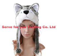2015 party fun Soft Cartoon handmade Animal style Wolf Cute Fluffy Hat Cap Hot Selling free shipping