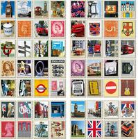 30packs/lot Wholesale New vintage UK memory series stamp paper sticker/ DIY Multifunction note sticker/Decoration label