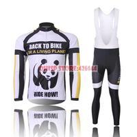 2015 Ropa Ciclismo Panda Pattern Men Thermal Fleece Winter Cycling Clothing Set Quality Jersey Fixgear Bike Jacket Bib Pants