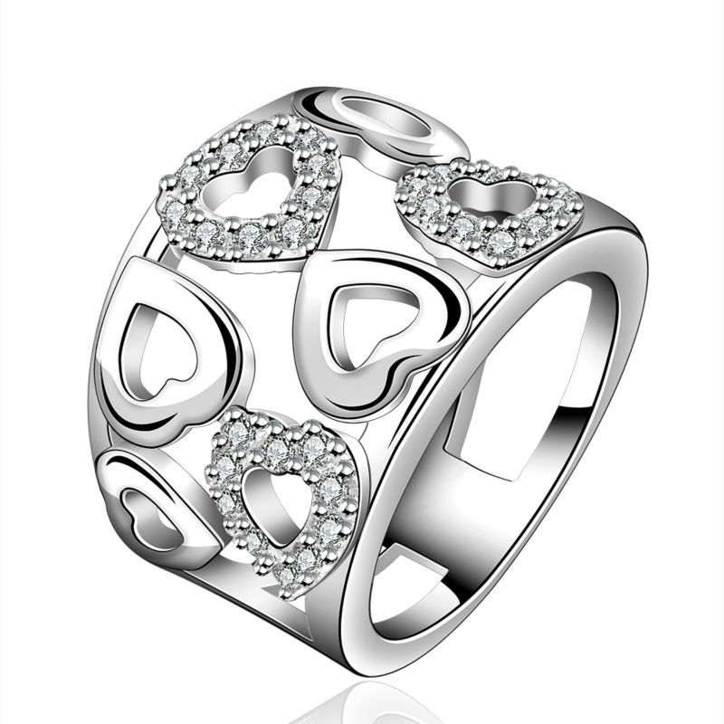 New Women Exquisite Crystal Love Rings Jewelry 925 Sterling Silver Jewelry Cubic Rings Engagement Party Best
