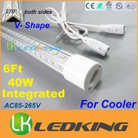 LATEST Integrated T8 LED Tube V Shape both sides Light tube 40W 6 feet 1.8m for cooler LED fluorescent lights AC85-265V CE