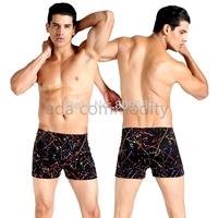 New 2015 Men Swimwear Sexy swimming trunks Low waist Stripe Shorts Boxers Sports suit Men Free Shipping