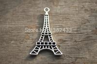 20pcs--Eiffel Tower charms,Antique Tibetan brass tone 2 sided Eiffel Tower Charm Pendant 25x45mm