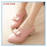 ENMAYER plus size 34-43 5 colors women flats sweet bowtie round toe single shoes spring autumn square heel women shoes