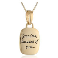 Grandma Because of You , I have memories to Last a lifetime Box Chain Pendant Necklace Women Gift