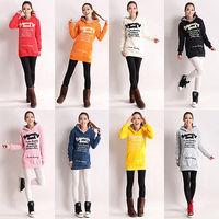 Plus Size Women Winter Casual Hoodies Print Thicken Fleece Pullover Tops Sweater