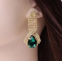Women Rhinestone Teardrop Crystal Golden Drop Ear Jewelry Party Bridal Wedding Earrings