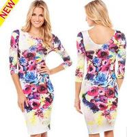 freeshipping Female five big flower printed sleeve round collar tight dress