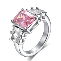 Fashion Stainless Steel Pink Stone Cubic zircon Wedding / Engagement Ring Women 5-9#