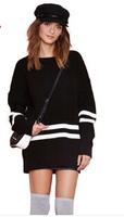 Black and white stripe splicing baseball off-the-shoulder rib hem cuff wind brought female long sweaters