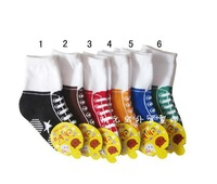 600pair/lot  wholesale shoe style cotton children kids baby boys socks with non-skid bottom 6 color
