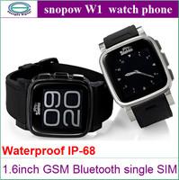Original Snopow W1 Waterproof Rugged IP68 Smart Watch Cell Phone 1.6inch watch phone Bluetooth 3.0 GSM MTK6260A Cell Phones