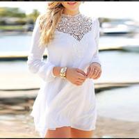 NEW Arrival 2015 Lace Dress Deep V neck Hallow Out Crochet Chiffon Dress Long Sleeve White Dresses Casual vestido de festa 2689