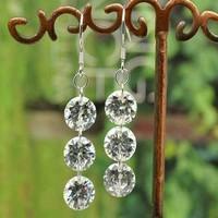 Free shipping Three super flash AAA zirconium drill 990 sterling silver ear hook earrings