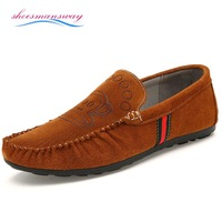 Loafer shoes For Men Real Cute Loafers Fashion Suede Leather Flat Mens Brown Shoes Male Driving Gommini Sapatos Size 38 to 44