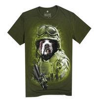 Hot 2015 Fashion Summer Basic Underwear Tees Lycra High Quality Soldier Dogs Print T Shirt Hip Hop Short-sleeve O-neck T-shirt