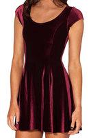2015 European and American fall casual dress short sleeve velvet burgundy women dress dresses F88