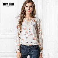 2015 spring Autumn new bird blusas v neck All-match tether clothes long sleeve print plus size blusas femininas casual shirt