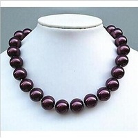 w2483 Pretty brown ocean 16mm shell pearl necklace 18''J-351