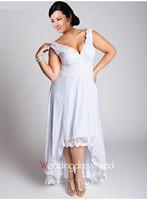 New Plus V-neck Wedding Dress Lace Sheath Bridal Gowns Spaghett Straps Custom White Ivory