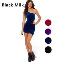 2015 New causal dress spring and summer women dress Black Milk velvet dress oblique shoulder straps tight dress F88