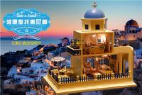 DIY LED LIGHT wooden Dollhouse miniatures Greece house Santorini  kit