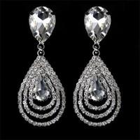 Fashion Womens Party Wedding Jewelry Crystal Teardrop Dangle Earrings Sliver Plated Waterdrop Earrings
