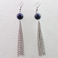 Free shipping Fashion 10MM Lapis Lazuli With Silver Long Tassel Earrings Chain (Min.order 15$ mix)