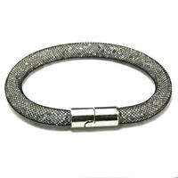 New Fashion Black Mesh Handmade Wristband Stardust Crystal Rhinestone Charm Bracelets With Magnetic Clasp DH-JDB001-16-1
