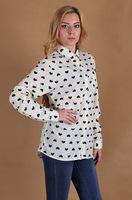 Hot European and American women love black shirt-sleeved shirt lapel love hearts printed chiffon shirt  blouse WL2207