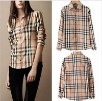 2014 fashion Lattice Casual chiffon Blouse Stripe Plaid Printed Vintage Design Lady long Sleeve Slim women Shirt top