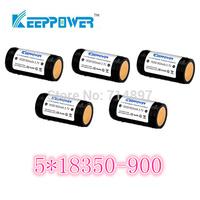 free shipping 5 pcs KeepPower 900mah protected 18350 rechargeable  battery flashlight li ion 3.7v for flashlight headlamp