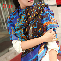 Free Shipping !2015! Europe the latest scarf Graffiti Ink Flowers Gradient Authentic Voile Women Scarves Shawl
