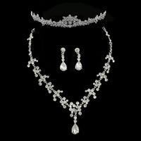 Wedding accessories bridal jewelry sets rhinestones crown tiara necklace earrings silver plated wedding jewelry new arrival 0188