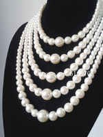 2015 Chunky Women Stylish Multi Strand Pearl Collar Necklace Pearl Beads Chain body jewelry