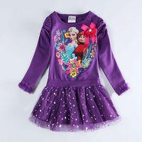 2014  new casual dress Princess Dresses  frozen dress  Elsa frozen party dress vestido  girl kids long sleeve dress