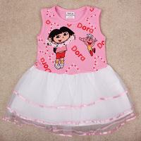 New Arrive Girls' Dress Dora Printed Vest Dress Kids Clothes Wholesale Layered Dress