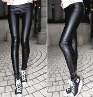 2014 adventure time leggins Fashion black PU leather zipper legging pants high waist ladies punk fitness legging milk pants