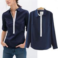 Tropical casual roupas camisas femininas 2015 summer tops contrast color long sleeve pullover shirt women blouse C683
