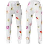 002 Emoji style print pants funny cartoon sweatpants black & white thicken long joggers trousers sportswear female clothes sale