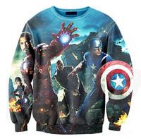 Hot sale autumn warm hoodies women fashion iswag sweatshirt american captain 3D printed sweatshirts hoodies for couple Nora05566