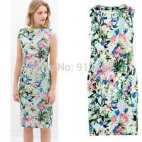 UK New 2015 ZA Women Summer Dress Sleeveless Turquoise Floral print Stretch Knee-Length Dress Simple Vestido Femininity