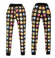 Bob 01 Emoji style print pants funny cartoon sweatpants black & white thicken long joggers trousers sportswear female clothes